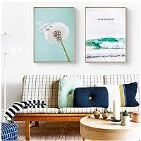 壁の芸術、北欧のリビングルームの装飾青い海の波の花タンポポ緑の植物の葉キャンバスアートフレームなし