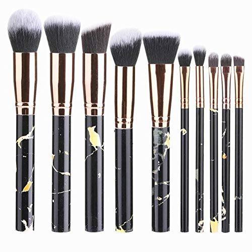 Fanxp Professional 10Pcs Marble Makeup Brushes Set, Eyeshadow Nasal Shadow Highlight Blush Eyebrow Brushes, With Organizer Carry Bag