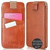 KAVAJ Funda Compatible con Apple iPhone SE (2020), 8, 7, 6S, 6 4.7' Cuero - Miami - Marrón coñac Carcasa Case Bumper con Compartimento para Tarjetas