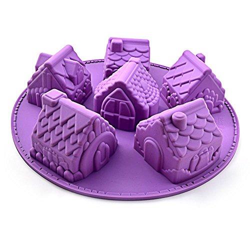 Kingken Kreative Silikonform Weihnachtsmotiv Häuser Form Schokolade Form Kuchen Form Backen (lila)