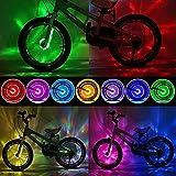 Comistack Bike Wheel Lights Smart Sensor Switch Bicycle Spoke Light-USB Rechargeable Safety Warming Lights-Cool Cycling Wheel Lights for Kids Adults