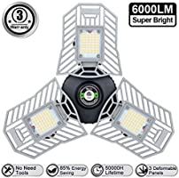 Light Bulb LED Garage Lights E26/E27 Garage Ceiling Light Adjustable 6000LM 60W Illuminator Led Garage Light Bulb for...