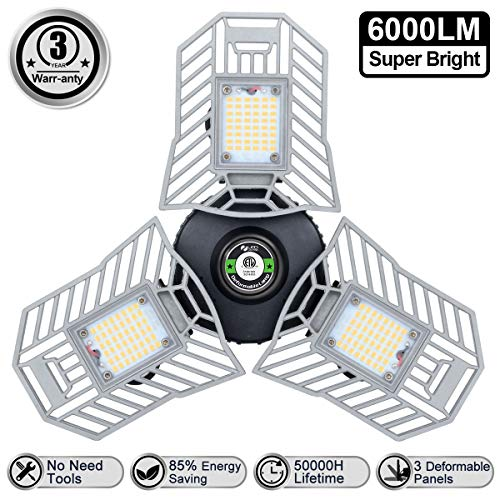 LED Garage Lights 6000 Lm Flexed LED Beyond Bright Garage Light 60W Three Leaf Garage Light Deformable for Garage Adjustable Panels Tribright Led Garage Lighting Basement Garage Lights(NO Sensor)