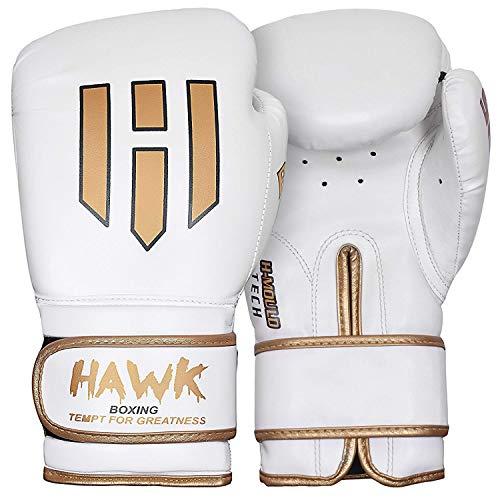 Hawk Boxing Gloves for Men & Women Training Pro Punching Heavy Bag Mitts MMA Muay Thai Sparring Kickboxing Gloves (White, 12 oz)