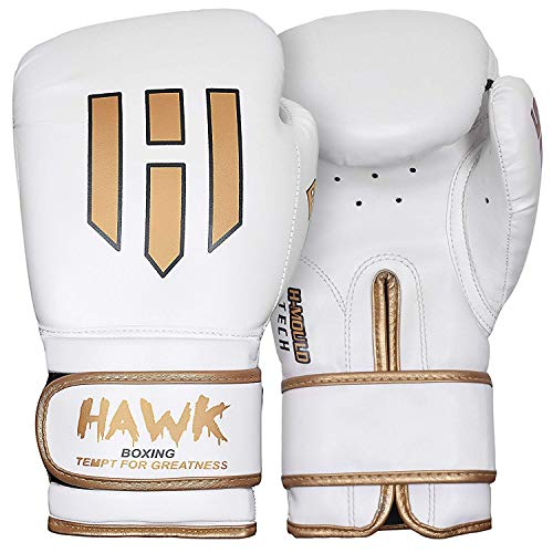 Hawk Boxing Gloves for Men & Women Training Fighting Punching Heavy Bag Mitts UFC MMA Muay Thai Sparring Kickboxing Gloves, White 14oz
