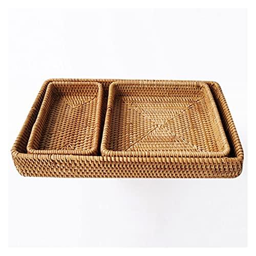 Trays Runde handgemachte Rattanplatte Mehrzweck-Küchenplatte, Frühstück, Kaffee, Obst, Brot, Couchtisch, Dekoration (Size : K2)