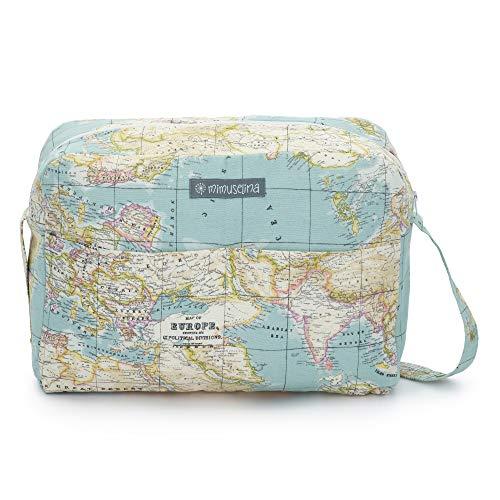 Borsa fasciatoio/valigia per l'ospedale, ideale anche per il passeggino del neonato Borsa per il passeggino. Borsa fasciatoio firmata Mimuselina. mappamondo