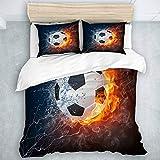SUHOM Bedding Juego de Funda de Edredón,Imagen de balón de fútbol de Alta resolución en Fuego y Agua para Imprimir un Juego de Pelota de fútbol,Microfibra (Cama 140x200 + Almohada 50X80),Single