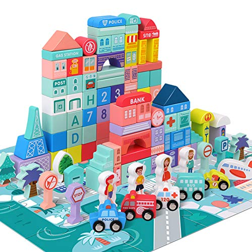 Wooden Building Blocks Set with City Map, Wooden Blocks City Construction Stacker Stacking Preschool Learning Educational Toys for 3+ Year Old Boy and Girl Gifts