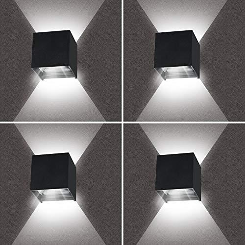 Wandleuchte Led 12W 4 Stücke Wandleuchten Innen Mit Einstellbar Abstrahlwinkel Wandlampen Kaltes Weiß 6000K IP65 für Innen/Außen