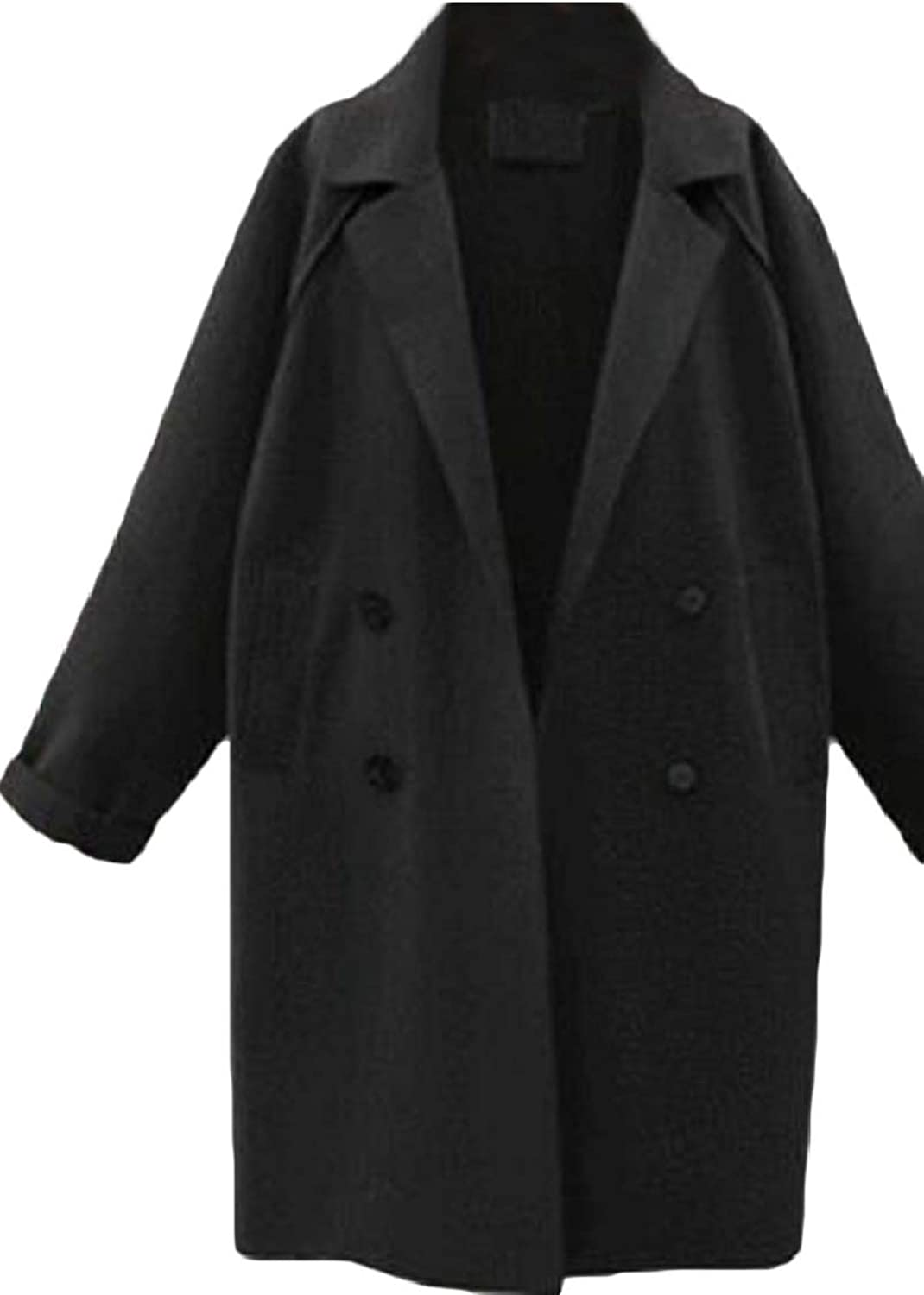 LKCENCA Womens Long Sleeve Lapel Collar Double Breasted Wool Blend Trench Coat