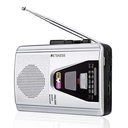Retekess TR620 Lettore e Registratore Cassette Portatile Walkman, Radio FM AM, con Modalità Loop Riproduzione Nastro, Auto Reverse, Jack Per Cuffie da 3,5 mm
