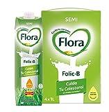 Flora Folic B Semidesnatada - 1 L (Pack de 4)