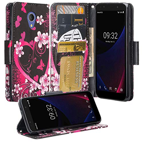 Phonelicious Wallet Case for TCL LX, Alcatel Avalon V, Alcatel 1xEvolve, Alcatel IdealXtra PU Leather Pouch ID Credit Card Phone Cover Flip Folio Book Style with Money Slot (Heart Sakura)