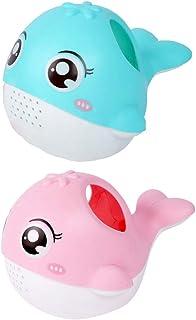 TOYANDONA 2pcs Watering Bath Toy Baby Bath Toys Cartoon Light Blue Pink Whale Animal Bath Toys Bathtub Time Water Toy Todd...