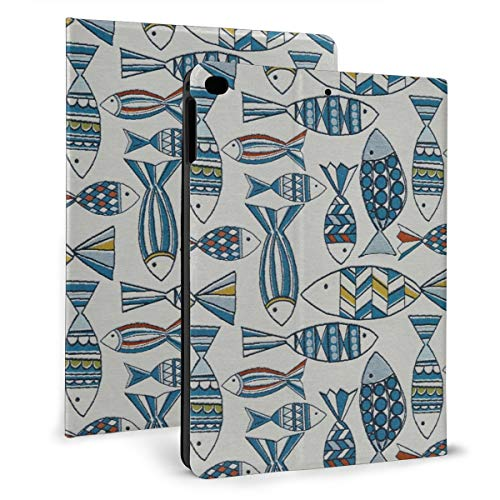 Blue And Teal White Marine Nautical Small Large Fish Case For Ipad Mini 4/5 7.9 Inch Cover Protective Smart Trifold Stand Cover With Auto Sleep/Wake For Apple Ipad Tablet