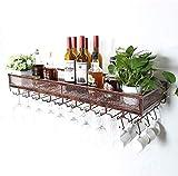 DZX Estante para Botellas para Colgar en la Pared Estante para Botellas de Vino Creativo y Simple Estante para Botellas de Vino montado en la Pared (Color: Marrón, Tamaño: 60 CM), Estante de ex