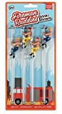 Drinking Buddies Marcadores de vidro reutilizáveis com tema de bombeiros, 4 amigos, agitador de bebidas