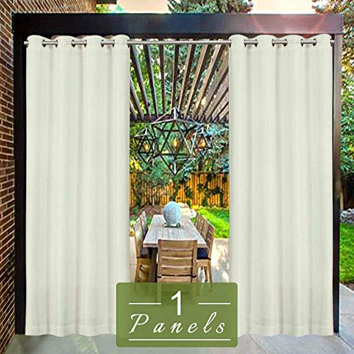 DOMDIL - Outdoor Curtains for Gazebo with Eyelets, Mildew Resistan Pergola Curtains, Perfect for Garden Patio Balloon of Pavilion Beach House, 1 Piece, 50' W*92' H, Colore Creme White