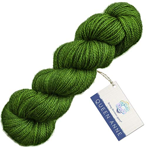 Living Dreams QUEEN ANNE LACE Yarn. Luxuriously Soft Blend of Baby Alpaca & Mulberry Silk. USA Hand Dyed: Emerald