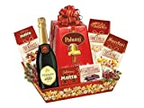 Le Cadeau - Cesto 'Agrifoglio' - Cesto Regalo Speciale Natale 'MERRY CHRISTMAS' / Cesto Pandoro + Cioccolatini + Biscotti + Spumante