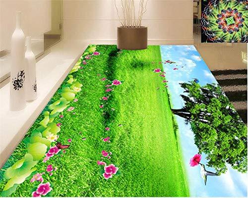 Mode Frische Tapete Grünland Feld Dreidimensionale Ästhetische Bodenfolie 3D Bodendekoration Malerei Wasserdicht Selbstklebende PVC
