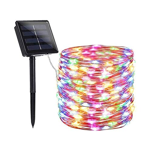 XIAOCHAO Solar Christmas Lights Fairy Lights Powered by Solar and Battery IP65 Waterproof 8 Modes RF Remote Rope Lights with 12V/1200Ma Solar Lights for Patio Garden Decor 65.6 Ft 200 LED,E