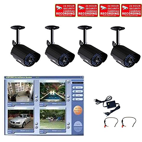 VideoSecu 4 Channel DVR USB 2.0 including 4 Audio Video Infrared IR Day Night Security Cameras and 1 of 4 Channel Power Supply W48