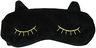 アイマスク やわらかコットン素材 洗えるカバー 軽量 飛行機 旅行用 眼精疲労 睡眠グッズ おやすみマスク軽量 可愛い猫 (黒)