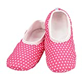 Snoozies Skinnies Lightweight Slippers | Cozy Slippers for Women | Travel Flats On The Go | Womens Slippers | Pink Dots | Medium