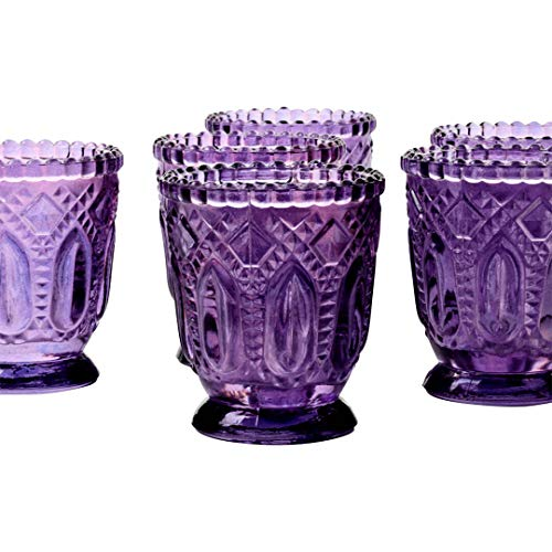 Koyal Wholesale Vintage Glass Candle Holder (Pack of 6), 3 x 2.75 (Purple)