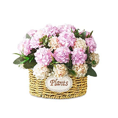 BSET BUY Hortensie künstliche Blume gefälschte Blumen Brautstrauß realistische Blüte Blumen mit Weizen Stiel Weben gemacht Korb für Home Garden Party Hotel Büro Dekorationen rosa violett