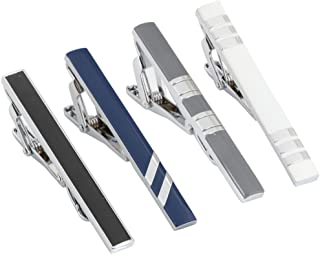 GWD Mens Tie Bar Clip 2.1 Inch, Silver-Tone, Black, Gray