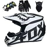 Casco MTB Integral para Niños/Jóvenes/Adultos - Set Casco Motocross Con Gafas/Guantes/Máscara - con Fox Designed, Certificación DOT - Negro Mate Blanco