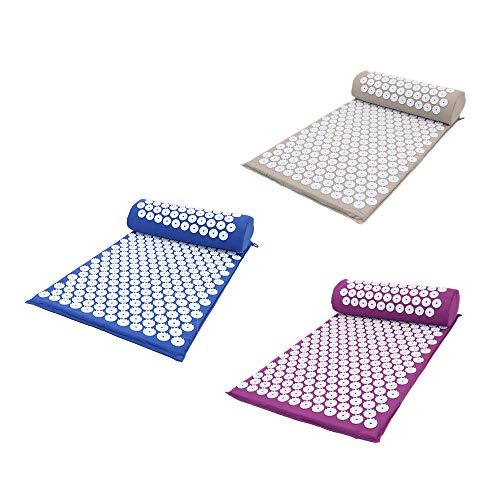 ForeWan Ensemble de tapis de massage et oreiller pour le repos, le dos, les épaules, le cou, la tête, le stress, le soulagement des douleurs musculaires du corps – réflexologie