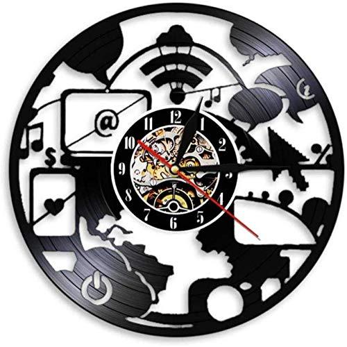 CHANGWW Diseño Moderno Reloj de Pared de computadora Inteligente Ingeniero a Largo Plazo decoración de Oficina Red de Oficina Escuela Geek Nerd Regalo 12 Pulgadas
