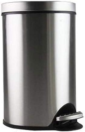 LIRIDP ラウンドゴミ箱ゴミ箱メタルゴミ箱ステンレススチールペダルキッチンベッドルームリビングルームバスルームオフィストイレサイレント5L屋内ゴミ箱(カラー:シルバー)