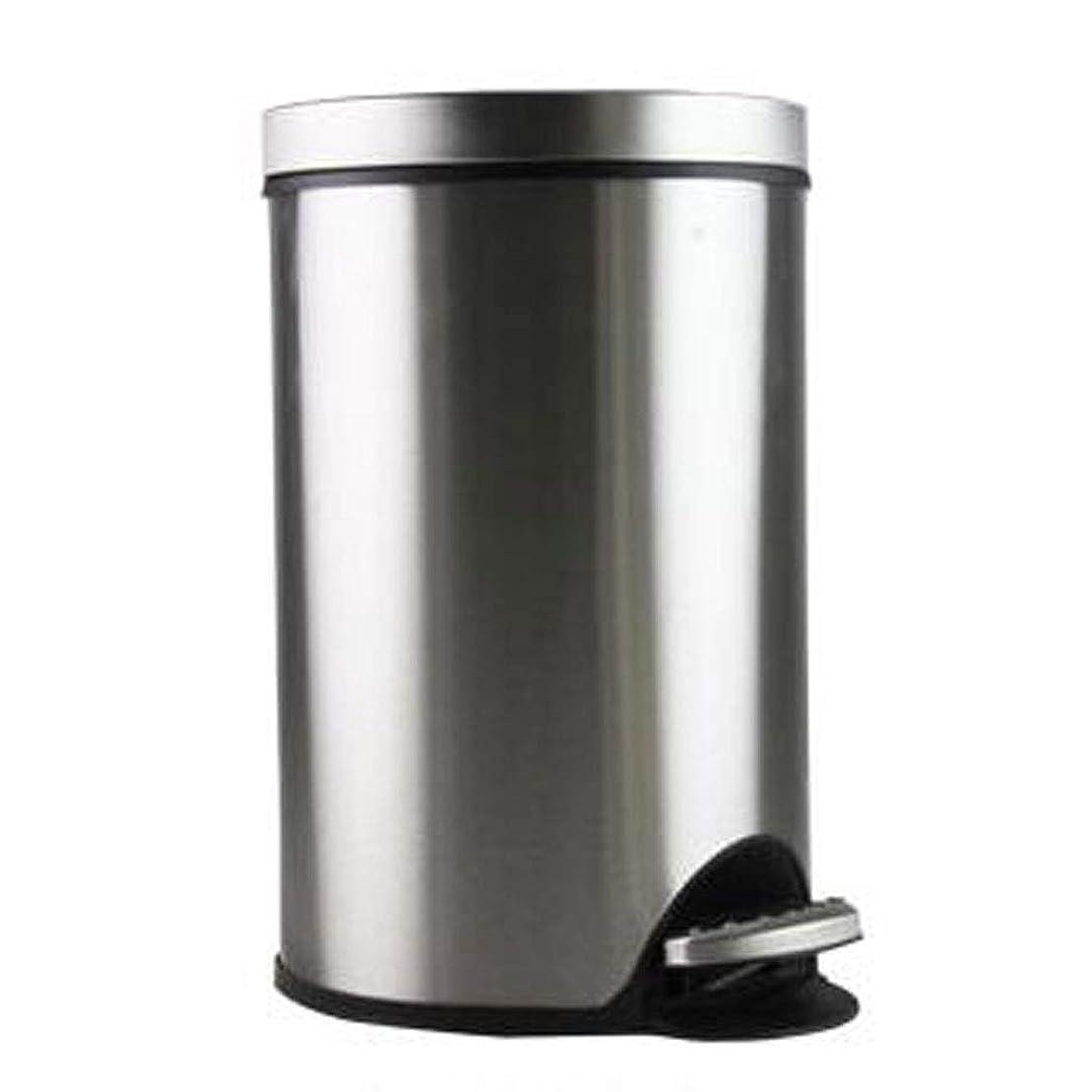 回転させる交響曲合意LIRIDP ラウンドゴミ箱ゴミ箱メタルゴミ箱ステンレススチールペダルキッチンベッドルームリビングルームバスルームオフィストイレサイレント5L屋内ゴミ箱(カラー:シルバー)