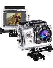 GUTSBOX Actiecamera, sportcamera, 1080p actiecamera, onderwatercamera, Full HD onderwateractiecamera, 2 inch LCD-scherm, onderwater 40 m waterdicht, 170 graden groothoek met accessoirekits