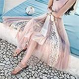 Damen Lang Tüllrock,Meine Damen Vintage Hohe Taille Elegante Lange Rosa Godet-Rock Blumenspitze Midi Weiblich Beach Lässige Streetwear Hohe Taille Tüll Plissee Tutu Weiblich Für Lässige Party,