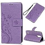 YOKIRIN LG Aristo 2 Case, LG K8 Case, Flip Wallet Cover, Embossed Floral Butterfly ID&Credit Card Holder Folio Case for LG K8 2017 & 2018, Purple