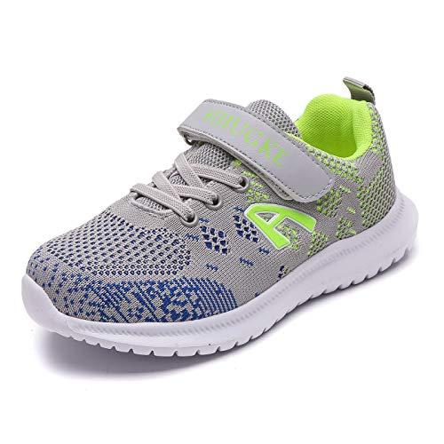FIHUGKE Kinder Schuhe Sportschuhe Ultraleicht Atmungsaktiv Turnschuhe Klettverschluss Low-Top Sneakers Laufen Schuhe Laufschuhe für Mädchen Jungen, Grau Grün A, 32 EU
