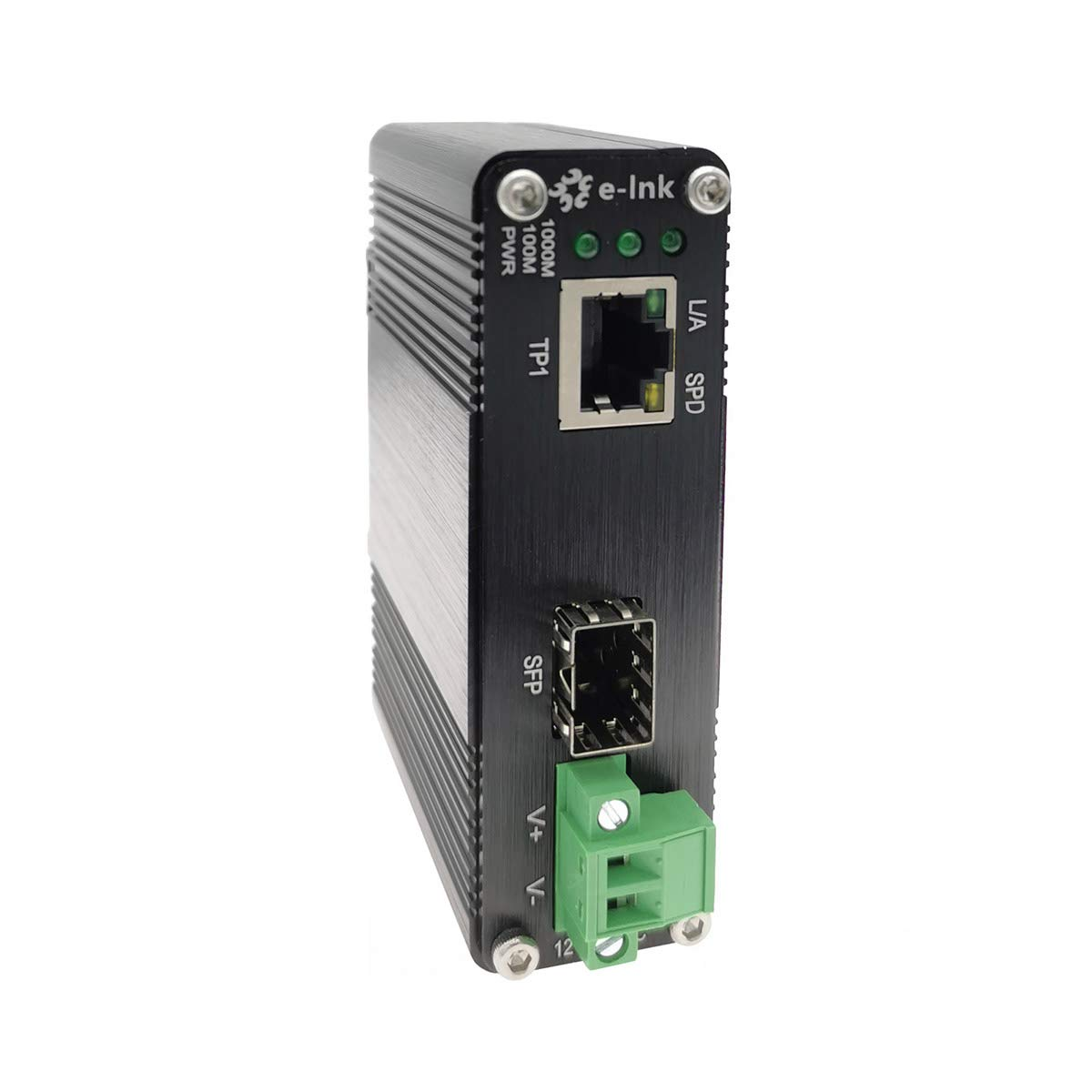 Mini Industrial Gigabit Media Converter Outdoor Use Din Rail Mount Hardened 10/100/1000Mbps RJ45 Ethernet to Fiber Optic Converter with 100Base-FX or 1000Base-FX Auto Sensing SFP Port 12~48V DC Input