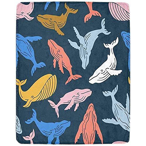 Annays deken sperma walvis patroon super zacht warm lichtgewicht gooien deken voor bank bank bank 102x127CM