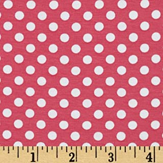 Riley Blake Designs Jersey Knit Small Dots Fabric by The Yard, Hot Pink