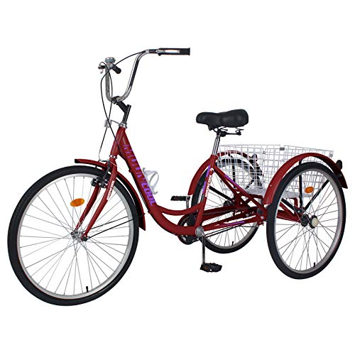 Slsy Adult Tricycles Single Speed, Adult Trikes 20/24 / 26 inch 3 Wheel Bikes, Three-Wheeled Bicycles Cruise Trike with Shopping Basket for Seniors, Women, Men.
