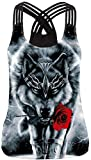 Ocean Plus Damen Sommer Casual Ärmelloses Tank Top O-Neck Stretch Sport Top Cute Racerback Yoga Workout Sommer Shirts (M (EU 34-36), Rote Rose Wolf)