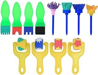 Oumefar 12 gąbki malowanie pędzle gąbka malowanie wałkiem pędzel do malowania dzieci narzędzia edukacyjne zabawki (styl 2)