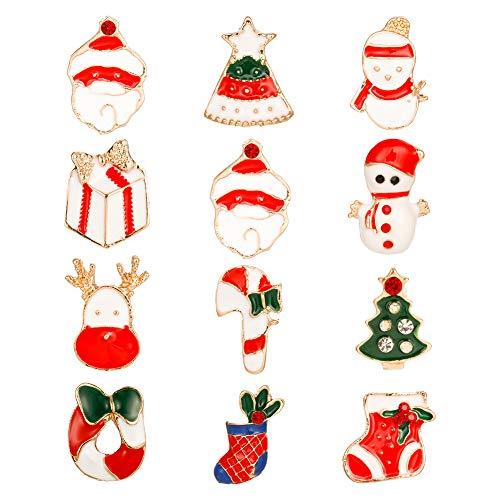 Xinstroe 12 Stück Weihnachten Brosche Pin Tropföl Label Pin Schneemann Weihnachtsbaum Hirsch Brosche Pins für Frauen Männer
