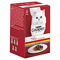 Crafted with a selection of beef, chicken or lamb in a savoury sauce Multipack features six pouches to three recipes Balanced and complete for all adult cats (ages 1 to 7 years) Discover the delicious world of Gourmet mon petit Complete pet food for ...
